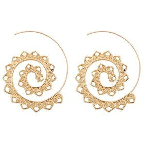 Fashion Spiral Toothed Gold-Tone Earrings